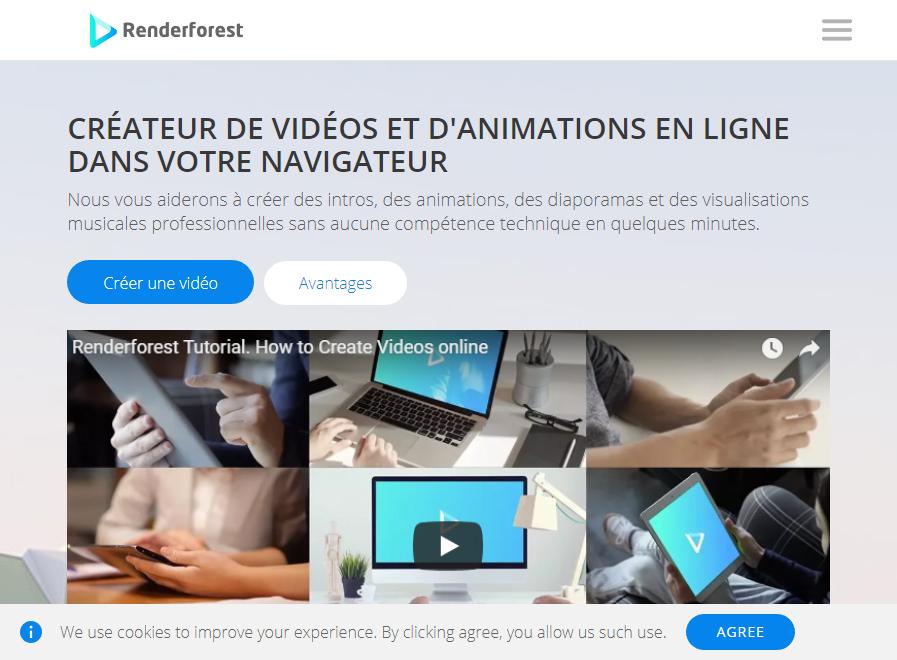 création en ligne de vidéo Renderforest